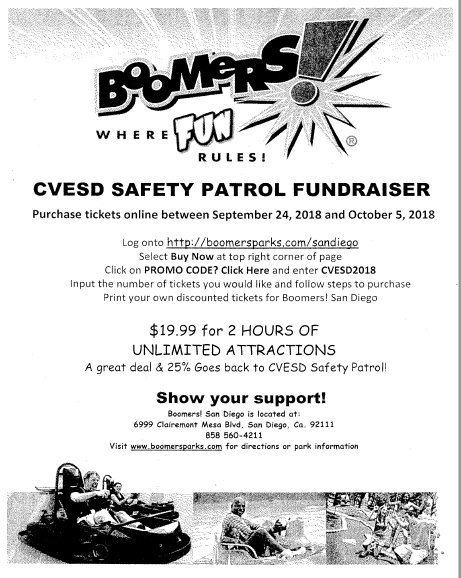 Safety Patrol Fundraiser at Boomers